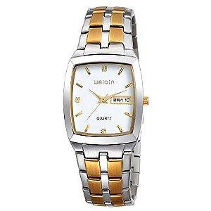 Relógio Masculino Weiqin Analógico Casual W0052 Prata e Dourado