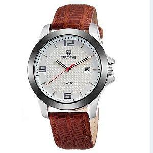 Relógio Unissex Skone Analógico Casual 9180BG Branco
