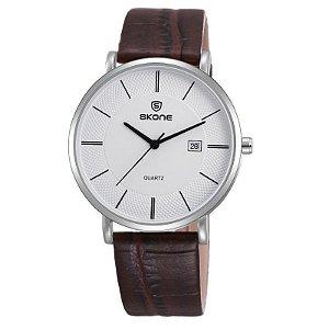 Relógio Unissex Skone Analógico Casual 9307BG Couro e Marrom