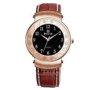 Relógio Unissex Skone Analógico Casual 9413G Marrom e Dourado