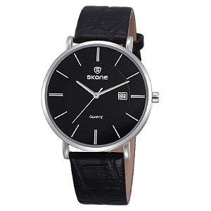 Relógio Unissex Skone Analógico Casual 9307BG Preto