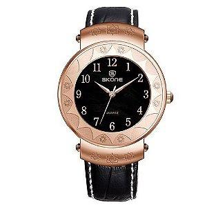 Relógio Unissex Skone Analógico Casual 9413G Preto e Dourado