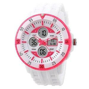 Relógio Skmei Anadigi 1046 Branco e Rosa