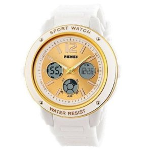 Relógio Skmei Anadigi 1051 Branco e Dourado