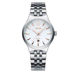 Relógio Feminino Skmei Analógico 9071 Branco e Dourado