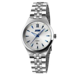 Relógio Feminino Skmei Analógico 9071 - Prata e Azul