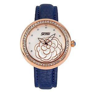 Relógio Feminino Skmei Analógico 9087 Azul - Dourado