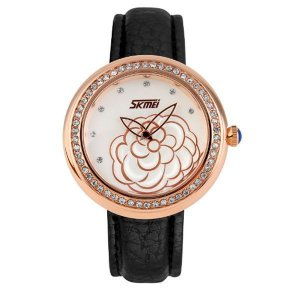 Relógio Feminino Skmei Analógico 9087 Preto e Dourado