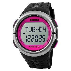 Relógio Pedômetro Feminino Skmei Digital 1058 Rosa