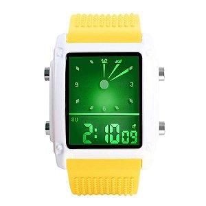 Relógio Masculino Skmei Anadigi 0814G Amarelo e Branco