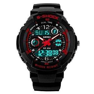 Relógio Masculino Skmei Anadigi 0931 Preto e Vermelho
