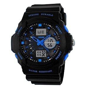 Relógio Masculino Skmei Anadigi 0955 Preto e Azul