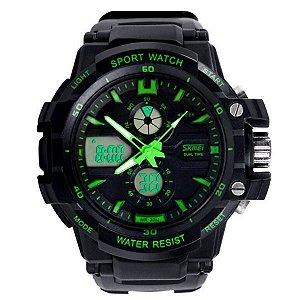 Relógio Masculino Skmei Anadigi 0990 - Preto - Verde
