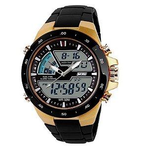 Relógio Masculino Skmei AnaDigi 1016 - Preto e Dourado