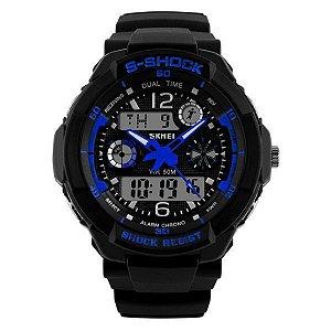 Relógio Masculino Skmei Anadigi 1060 Preto-Azul