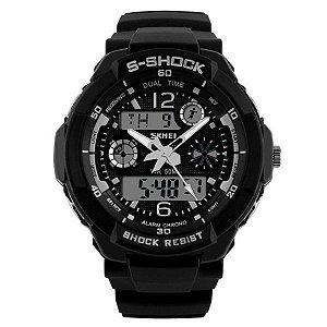 e1ecc420e1d Relógio Masculino Skmei Anadigi 1016 Preto e Branco - ShopDesconto ...