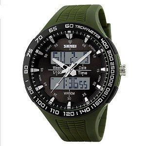 Relógio Masculino Skmei Anadigi 1066 Verde e Preto
