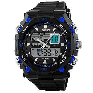 Relógio Masculino Skmei Anadigi 1092 PT-AZ