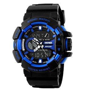 Relógio Masculino Skmei Anadigi 1117 Preto e Azul
