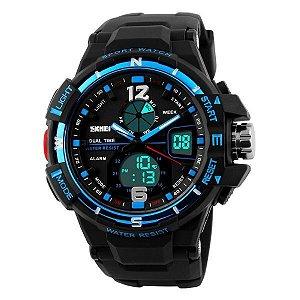 Relógio Masculino Skmei Anadigi 1148 PT-AZ