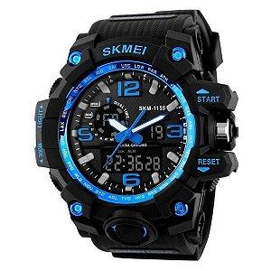 Relógio Masculino Skmei Anadigi 1155 Preto-Azul