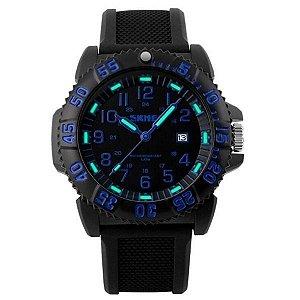 Relógio Masculino Skmei Analógico 1078 Preto e Azul