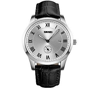 Relógio Masculino Skmei Analógico 1132 Preto e Prata