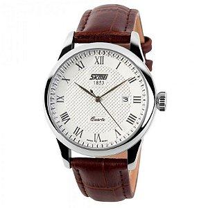 Relógio Masculino Skmei Analógico 9058 Marrom e Branco