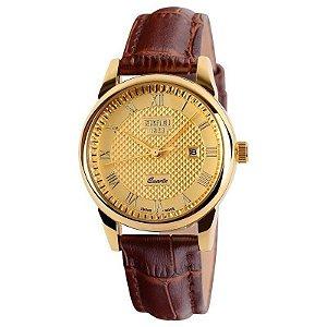 Relógio Masculino Skmei Analógico 9058 Marrom e Dourado