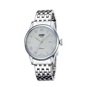 Relógio Masculino Skmei Analógico 9058 Prata e Branco