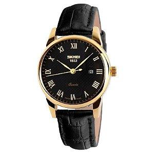 Relógio Skmei Analógico 9058 Preto e Dourado