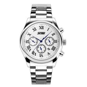 Relógio Masculino Skmei Analógico 9078 Prata e Branco