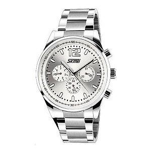 Relógio Masculino Skmei Analógico 9080 Prata e Branco