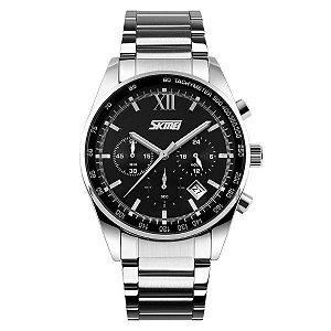 Relógio Masculino Skmei Analógico 9096 Prata e Preto