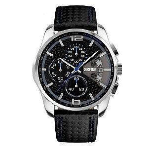 Relógio Masculino Skmei Analógico 9106 Preto e Azul