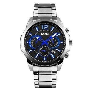 Relógio Masculino Skmei Analógico 9108 Prata e Preto