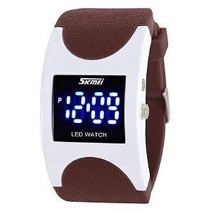 Relógio Skmei Digital 0951 Marrom e Branco