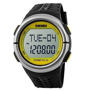 Relógio Pedômetro Masculino Skmei Digital 1058 Preto e Amarelo
