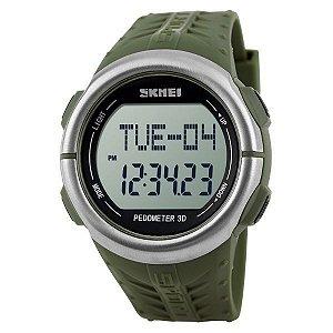 Relógio Pedômetro Masculino Skmei Digital 1058 - Verde e Prata