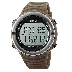 Relógio Masculino Skmei Digital Pedômetro 1111 Marrom e Prata
