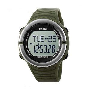 Relógio Masculino Skmei Digital Pedômetro 1111 Verde e Prata