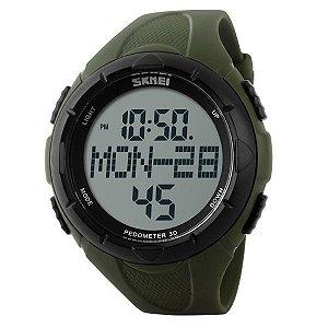 Relógio Pedômetro Masculino Skmei Digital 1122 Verde e Preto