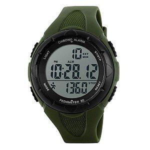 Relógio Masculino Skmei Pedômetro Digital 1108 Verde e Preto
