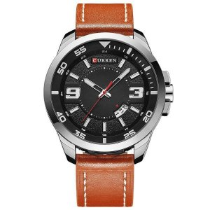 Relógio Masculino Curren Analógico 8213 - Marrom e Prata