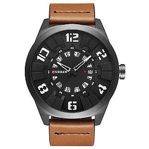 Relógio Masculino Curren Analógico 8258 - Marrom, Preto e Branco
