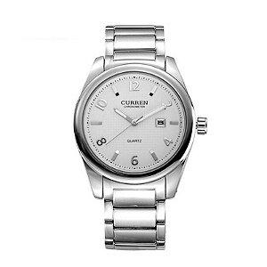 Relógio Masculino Curren Analógico 8048 Prata e Branco