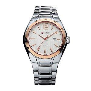 Relógio Masculino Curren Analógico 8103 Dourado e Branco