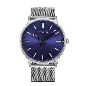 Relógio Masculino Curren Analógico 8233 Prata e Azul