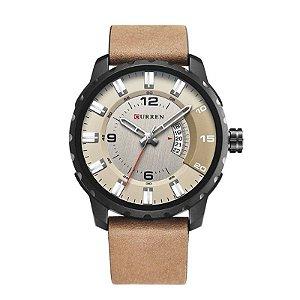 Relógio Masculino Curren Analógico 8245 Preto e Bege