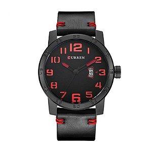 Relógio Masculino Curren Analógico 8254 - Preto e Vermelho